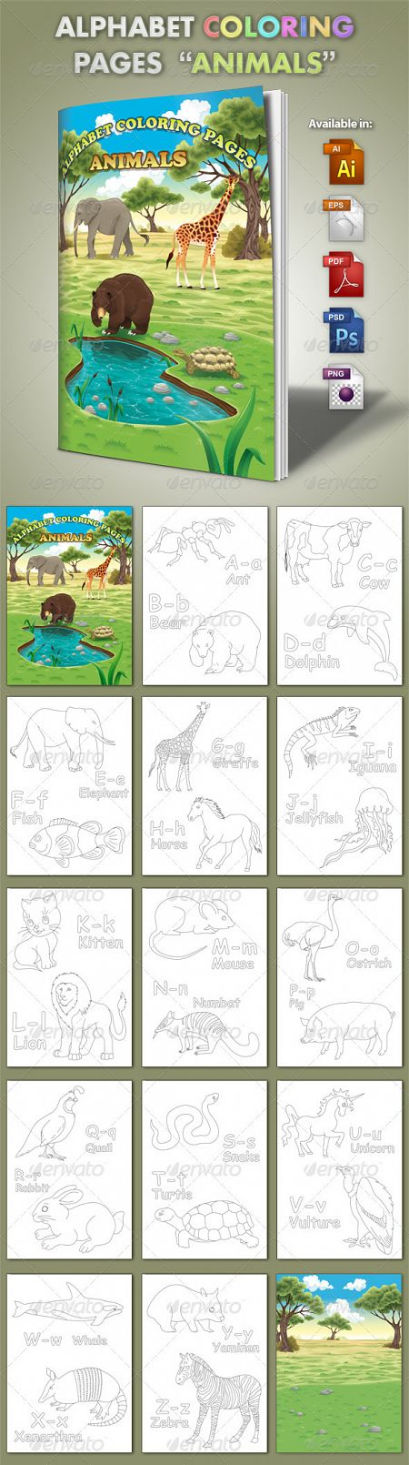 Alphabet Coloring Pages - Animals